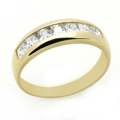 Women 14K Yellow Gold Wedding Ring Princess Cut CZ Channel Set Mens Wedding Band