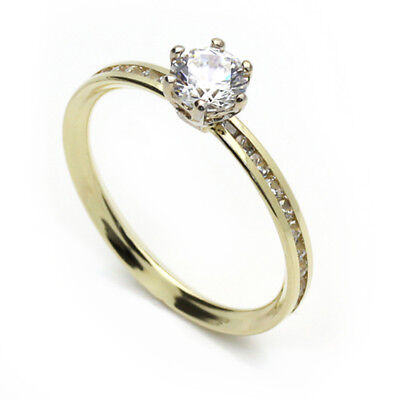 Women 14K Yellow Gold Channel Set Solitaire Engagement Ring