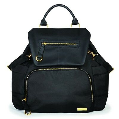 NEW Skip Hop Chelsea Downtown Chic Diaper Backpack Premium Nappy Bag Black Gold