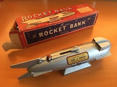 Rare Vintage Mercury Rocket Mechanical Bank & Box Bank of Berkeley CA Duro Mold