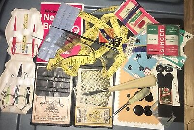 Vintage Antique Estate Sale Sewing Lot Needles Buttons & Much More