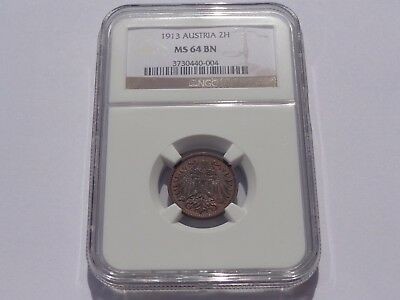 1913 Austria 2 Heller Ngc Ms-64 Bn No Reserve! Super Nice! Must See!!