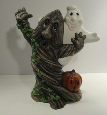 Halloween Ceramic Hand Painted Ghost and Haunted Tree