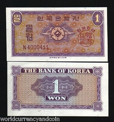 South Korea 1 Won P16 1962 N Series Block Unc Korean Currency Money Bank Note
