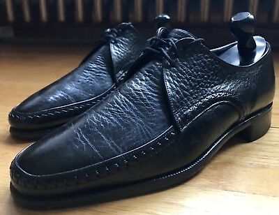 Church's for Dacks Bond Street Exotic Water Bison/Buffalo Black Derby Shoes 8.5D