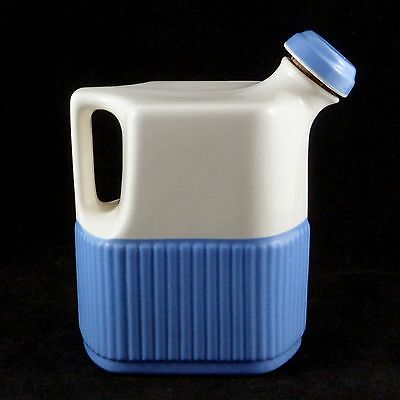 Deco Universal Potteries Refrigerator WATER PITCHER Off White Cadet Blue 1930s