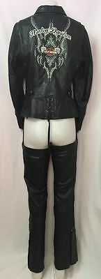 Harley Davidson Black Embroidered Womens Leather Jacket (M) & Matching Chaps (S)
