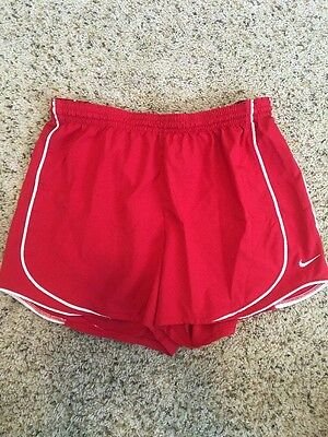Women's Nike Fit Dry Running Shorts Size MEDIUM Red Workout Fitness Gym Kd6