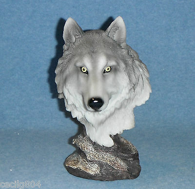 Pack Leader Wolf Bust On A Rock Figurine