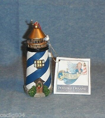 Blue Stripe Lighthouse  Hanging Christmas Ornament By Possible Dreams