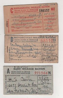 Lot of 3 Gasoline Ration booklets- 1943, one Motorcycle