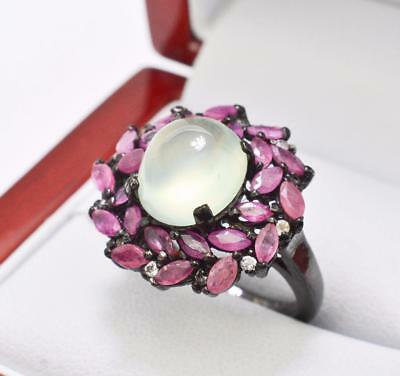 Natural Red Ruby White Sapphire & Peridot Gemstone Sterling Silver Ring 6g