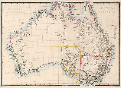 "16""x22"" Australia 1864 Map Gold Regions Mining Home School Wall Poster Vintage"