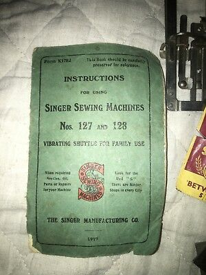 Singer Sewing Machine Old Parts From Models 127 and 128 with instructions book