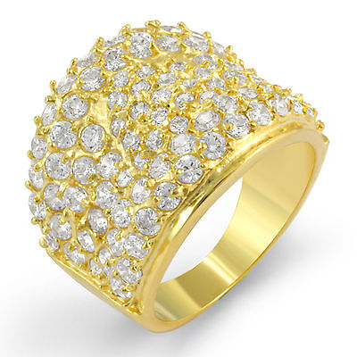 Gold Plated Cubic Zirconia Anniversary Wedding Band Ring Sterling Silver Sz 9
