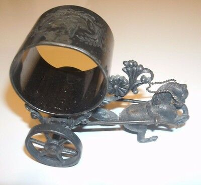 Antique Roger S Smith Co Silverplate Napkin Ring Rearing Horse Carriage RARE