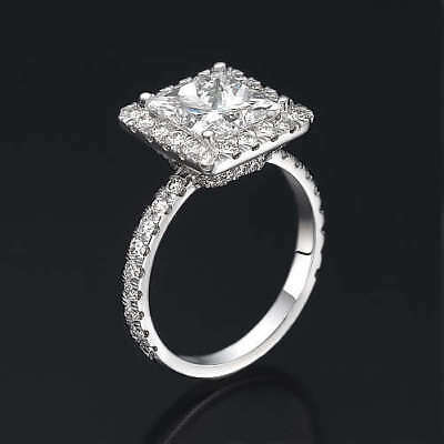 3.25 Carat Diamond Solitaire With Accents Engagement Ring White 14K Gold
