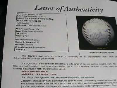 Mickey Mantle Autographed Baseball 1952 Team Yankees Phil Rizzuto JSA Certified