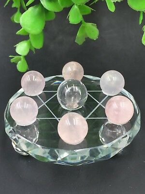 Natural pink Quartz white crystal Reiki Ball With Plate 7Star Array healing*4485