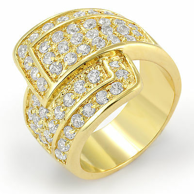 Round Cubic Zirconia Gold Plated Anniversary Band Ring Sterling 925 Silver SZ 6
