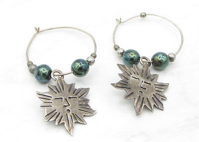 925 Silver - MEXICO Vintage Antique Finish Minimal Solar Hoop Earrings 5g