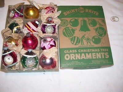 Lot #12 Vintage Glass Christmas Ornaments Some Indented in Shiny Brite Box