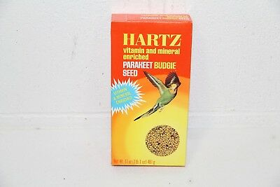 Vtg HARTZ Mountain Parakeet Finch Canary Bird Budgie Seed SEALED BOX NEW!! 17 oz