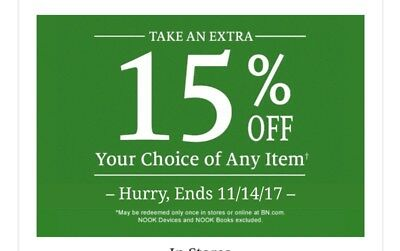 Barnes And Noble 15% Off one item C0UPON Expires 11/14/17 In Store or Online use