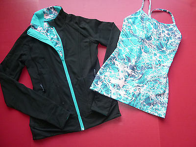 EXCELLENT! 2X Ivivva Girls Top Sets Sz 12 Black/Pink Mulitcolor Reversible