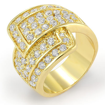 Round Cubic Zirconia Sterling 925 Silver Gold Plated Anniversary Ring Band SZ 5