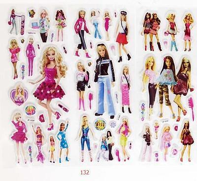 3Sheets Barbie Princess Scrapbooking Sticker Children Girl Reward Christmas Gift