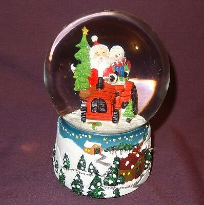 Santa Claus Tractor Snowman Music Box Snow Globe Country Barn Christmas Trees
