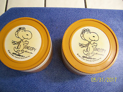 """(2) Vintage 1965 Plastic """"SNOOPY"""" THERMOS Insulated Jars"""
