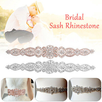 Bridal Crystal Handmade Rhinestone Wedding Dress Belt Sash Ribbon Waistband