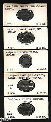 Scotland. Group of 5 different COMMUNION Tokens. 1811 - 1847, in Lead