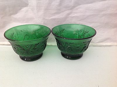 Anchor Hocking Sandwich Glass Forest Green 2 Custard Cups