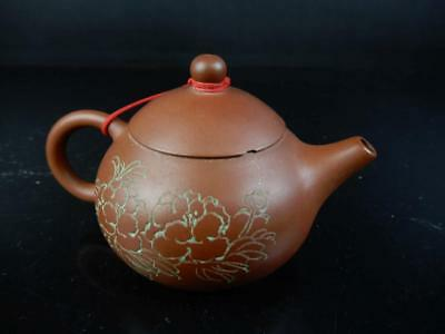 J2347: Chinese Brown pottery Flower Poetry sculpture TEAPOT Kyusu Sencha, auto