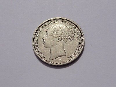 1880 Great Britain Victoria Shilling Vf No Reserve! Very Nice! Must See!!