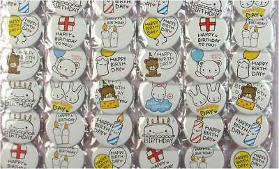 6pcs Happy Birthday 45mm Plastic Badge Brooch Pin Birthday Party Lolly Bag Gift