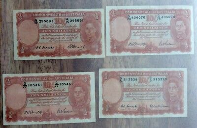 Australian Ten Shillings Banknotes Coombs/Watts Excellent Condition RARE Lot