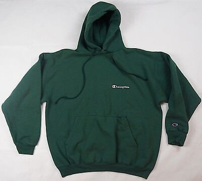 Rare Vintage CHAMPION Basic Classic Spell Out Logo Sweatshirt Hoodie 90s Green L