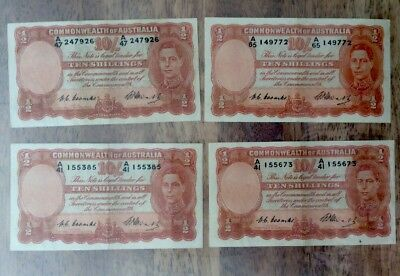 Australian Ten Shilling Banknotes Coombs/Watts Excellent Condition Rare Note Lot