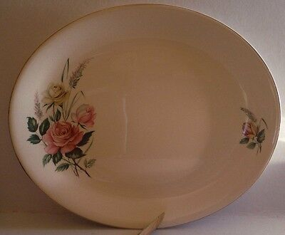Large Plate Alfred Meakin Pink and yellow Roses Vintage