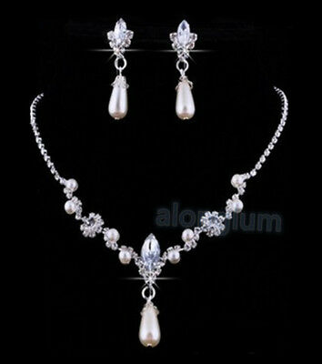 TN007 Wedding Bridal Bridesmaid Prom Party Pageant Crystal Necklace Earing Set