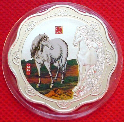 2014 Chinese Zodiac Silver Colour Coin--Year of the Horse Free Shipping P57