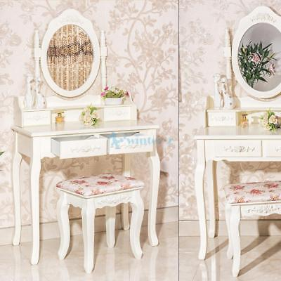 Luxury Dressing Desk Table & Stool Mirrors Jewellery Cabinet 4 Drawers Organizer