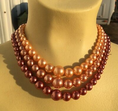 Vintage Retro Triple Strand Faux Pearl Necklace Graduated Shades Of Toffee