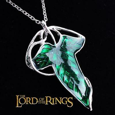 Lord of The Rings Fellowship Green Leaf Of Lorien Elven Brooch Pendant Necklace