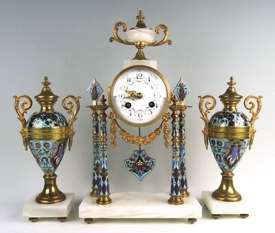 French Champleve Enamel and Onyx Clock Garniture C. 1900