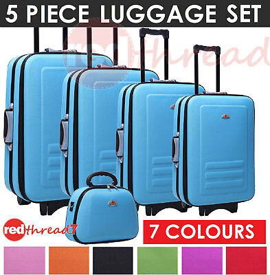 Luggage 5 piece Set Suitcase Trolley Travel Carry Bag Beauty Case 7 Colours